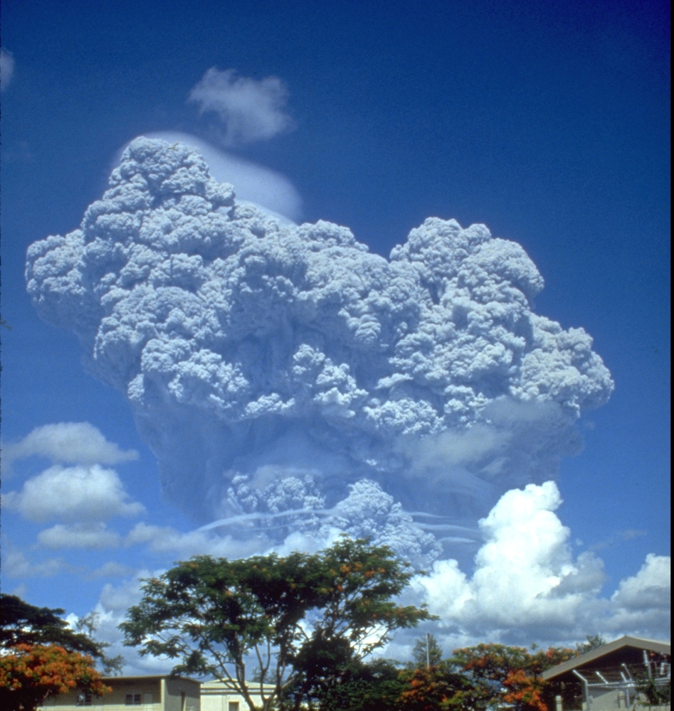 The June 12, 1991 eruption column from Mount Pinatubo taken from Clark Air Base.