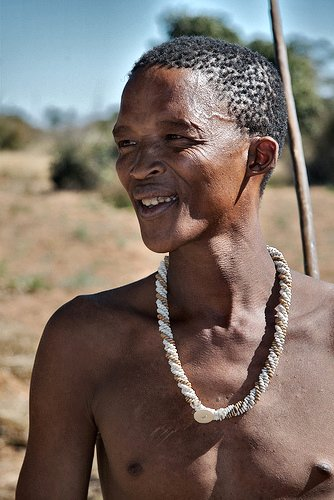 A San (Bushman) who gave us an exhibition of traditional dress and hunting/foraging behaviour.