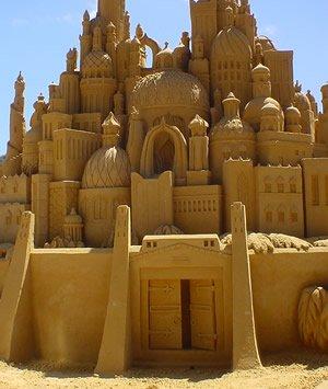 Intricate sand castle sculpture, approx. 10 feet high, in Victoria, Australia