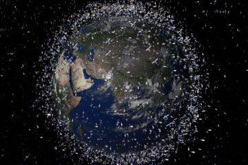 The Earth is surrounded by debris from past space missions.