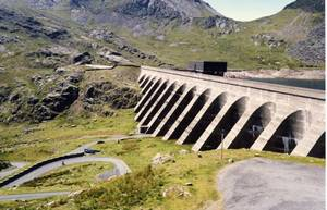 The upper reservoir (Llyn Stwlan) and dam of the Ffestiniog Pumped Storage Scheme in north Wales.