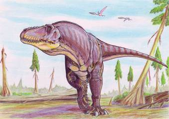 Illustration of a roaming Tarbosaurus