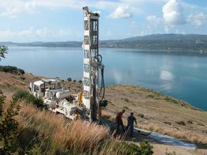 Drilling the 122 metre (400 foot) test borehole