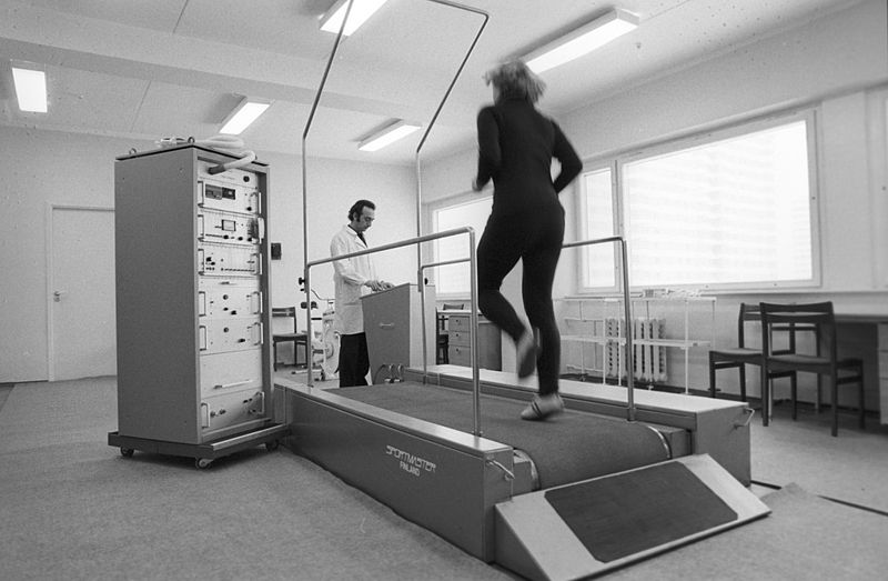 Testing on a treadmill at the functional diagnosis and sports test room at the medical center of the Olympic village during the 22nd Summer Olympic Games.