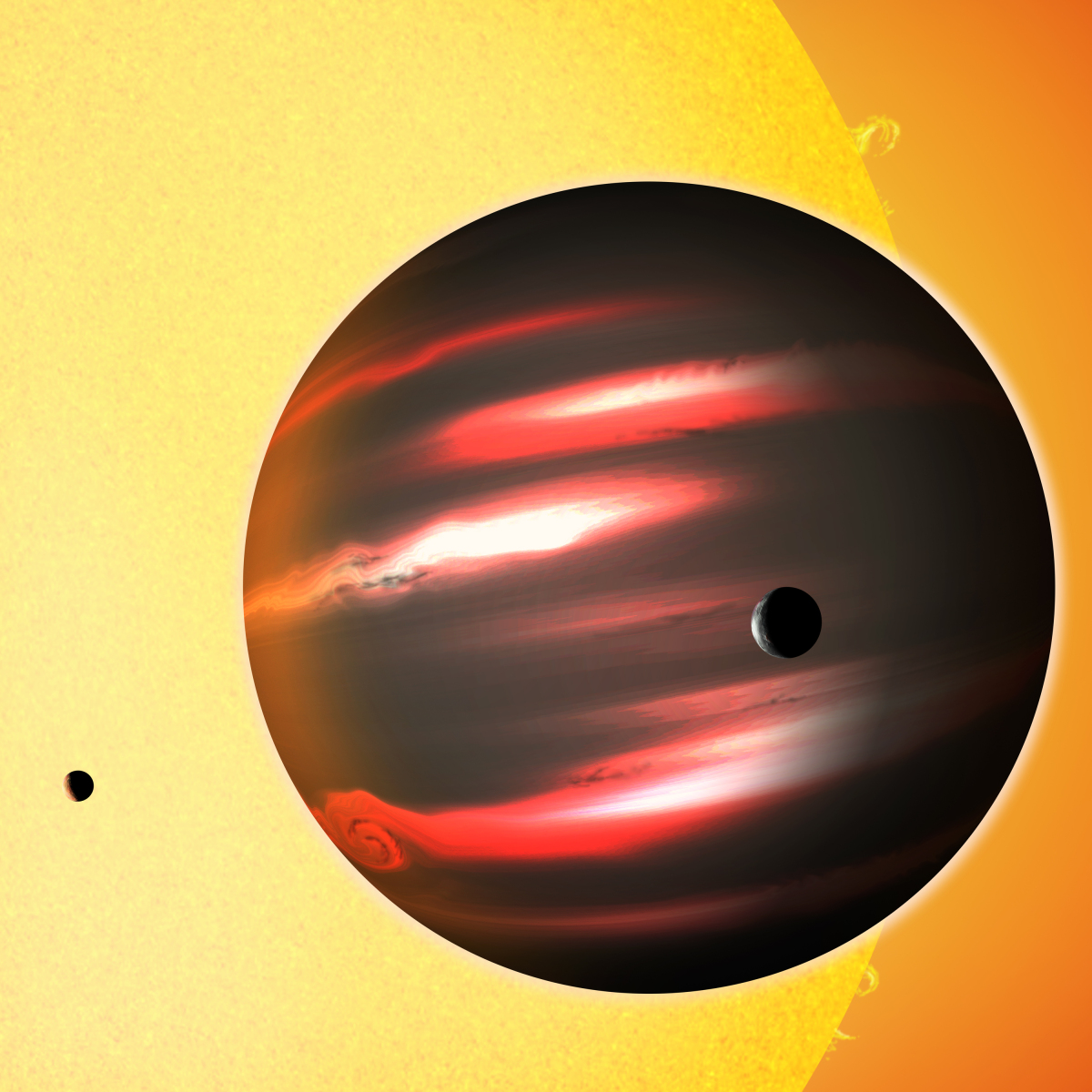 The distant exoplanet TrES-2b, shown here in an artist's conception, is darker than the blackest coal.