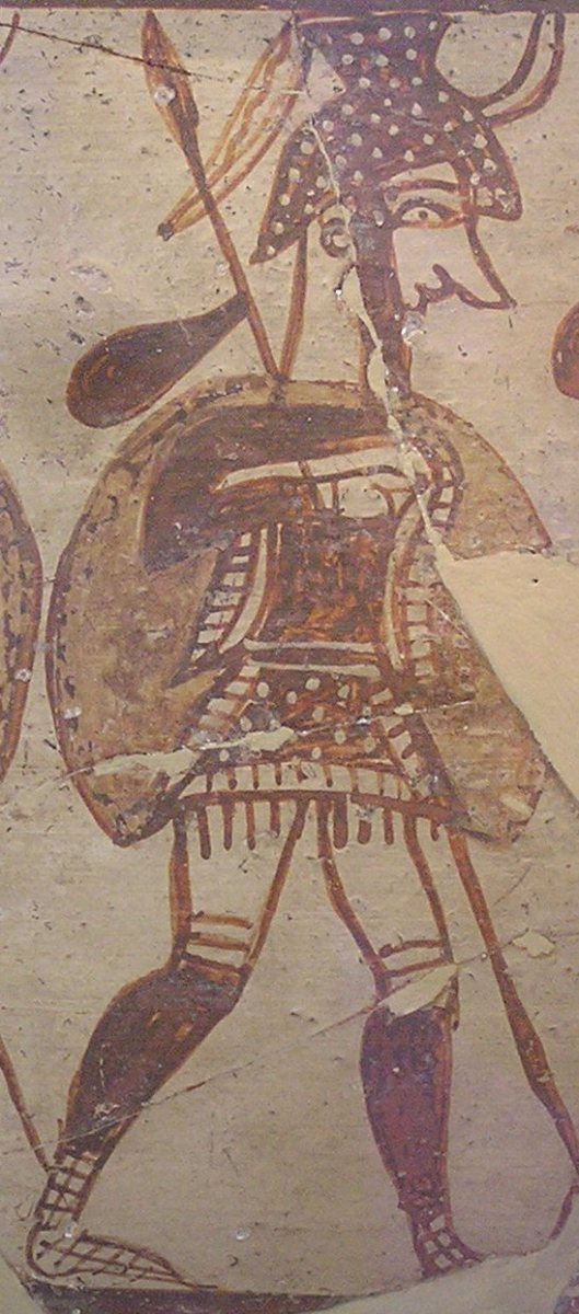 Mycenaean warrior on a Bronze Age krater vase