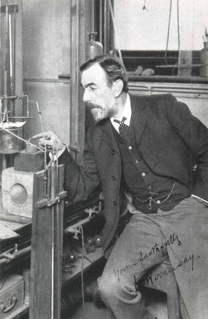 William Ramsay, working on his lab.