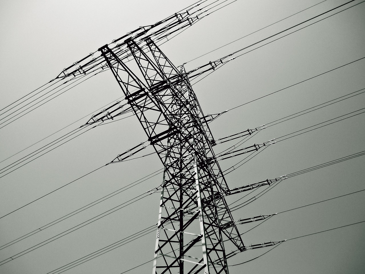 Powerlines suspended by a pylon