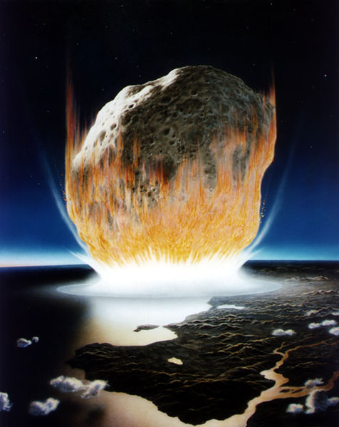 Artist's impression of the Chicxulub asteroid impact