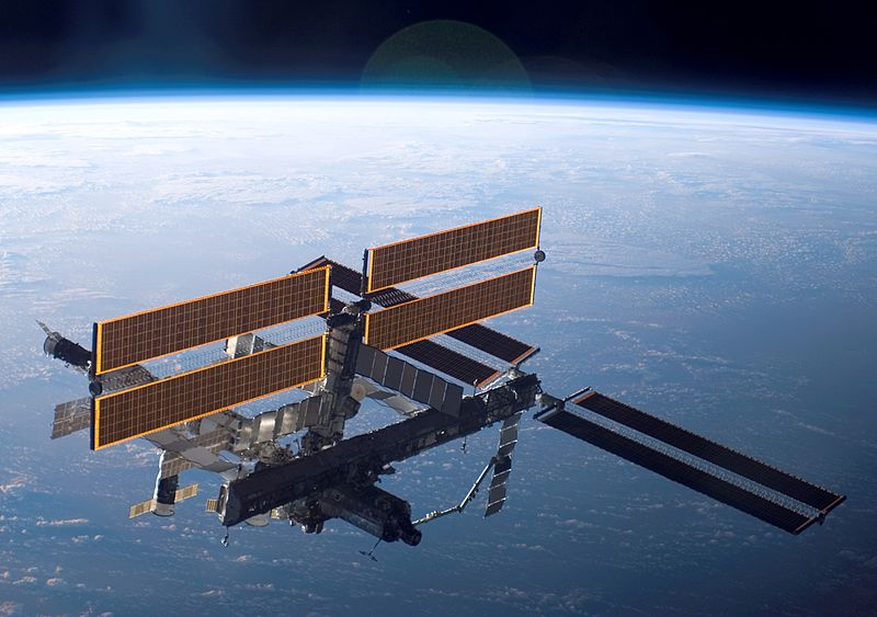 The International Space Station (ISS) in orbit, photographed from the attending space shuttle Discovery