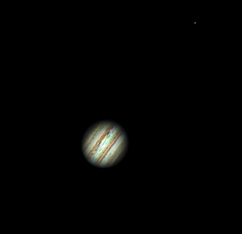 Jupiter and Io - 10th Feb 2016 by Roger Hutchinson