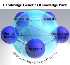 The Five sectors of genetics knowledge: Clinical; Commercial; Ethical, Legal and Social; Scientific; and Public Health are brought together within the Cambridge Genetics Knowledge Park for the benefit of society