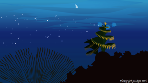 Christmas tree worm animation still from Joe Jones