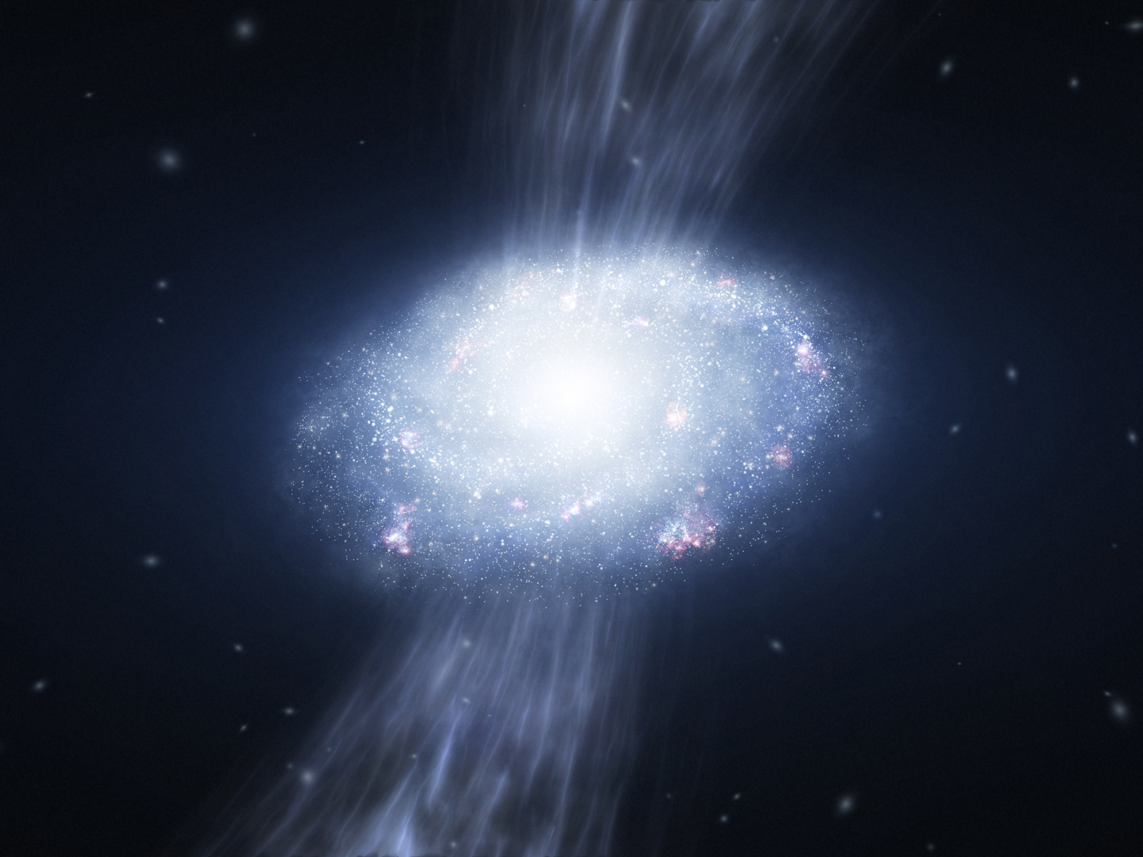 Artistic impression of gas accretion on a high redshift galaxy.