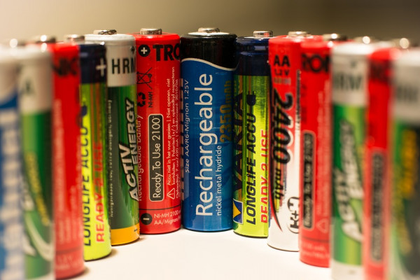 Row of rechargeable batteries