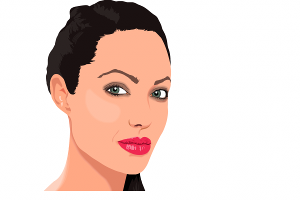 Angelina Jolie drawn in cartoon format