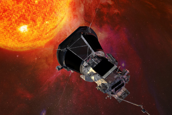 Artist's concept of the Parker Solar Probe spacecraft approaching the sun. At closest approach, Parker Solar Probe will be hurtling around the sun at approximately 430,000 miles per hour!