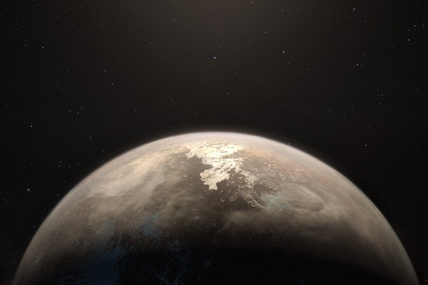 This artist's impression shows the temperate planet Ross 128 b, with its red dwarf parent star in the background. This planet, which lies only 11 light-years from Earth, was found by a team using ESO's unique planet-hunting HARPS instrument.