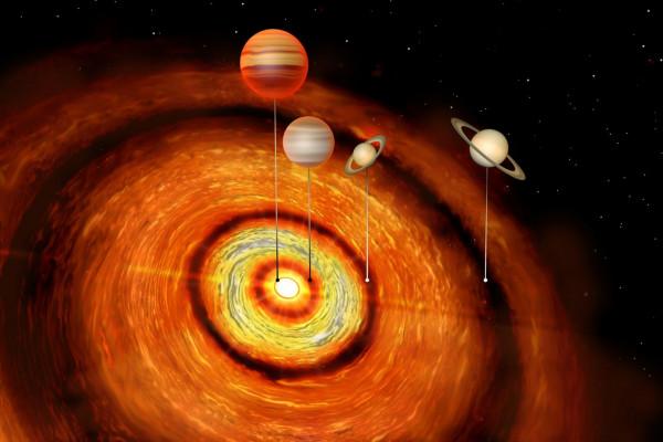 Artist's impression of four gas giant in orbit around CI Tau