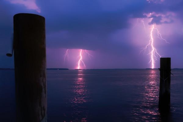 Lightning on the sea