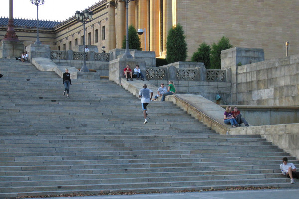 The famous steps of the Museum of Art, Philadelphia, USA