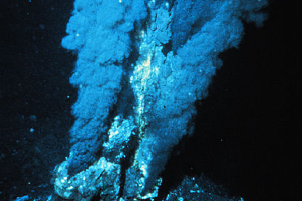 A Black smoker - a deep sea hydrothermal vent releasing mineral-rich super-heated water. Vents like these support a host of extreme lifeforms (extremophiles).