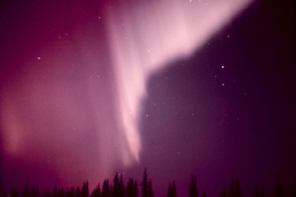 Aurora borealis in the vicinity of Anchorage, Alaska. Example of a curtain-like aurora.