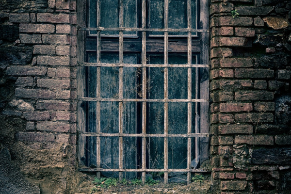 The window of a prison cell