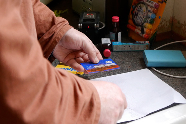 A store card being used in an experiment
