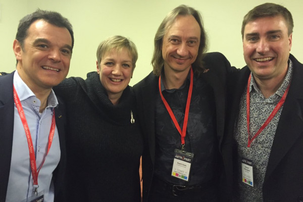 Andrea Accomazzo, Sue Nelson, Stuart Clark and Richard Hollingham at Astrofest 2017