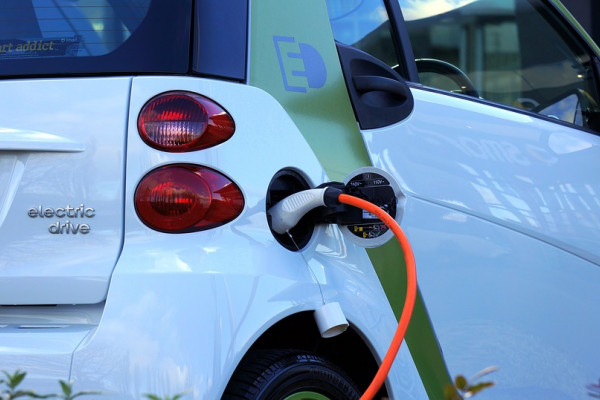 This is a picture of an electric car being charged