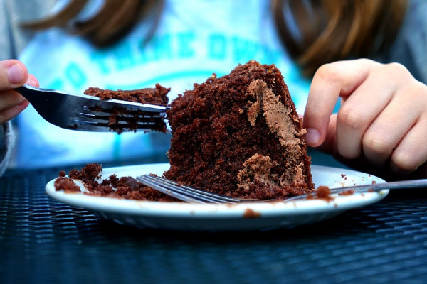 this is a picture of someone eating chocolate cake