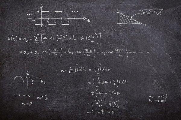 Fourier series equations written on blackboard