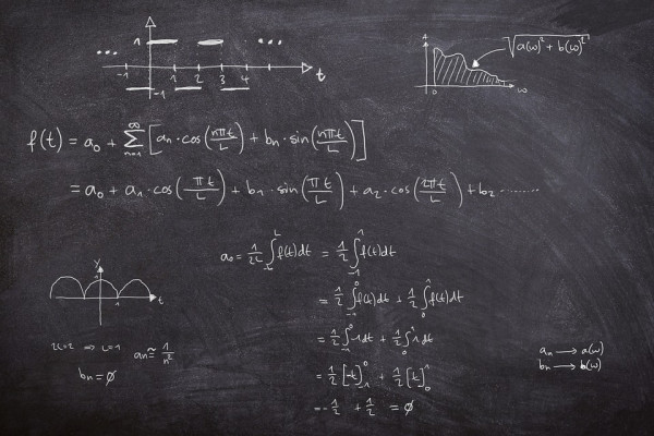 Fourier series equations written on blackboard
