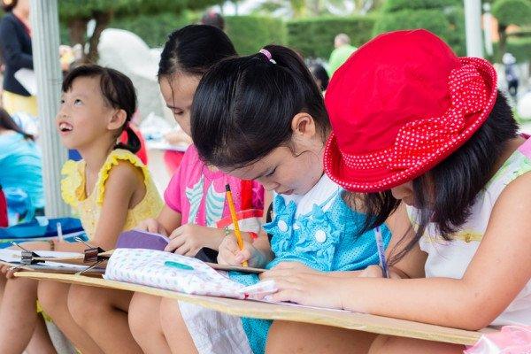 Children taking exam