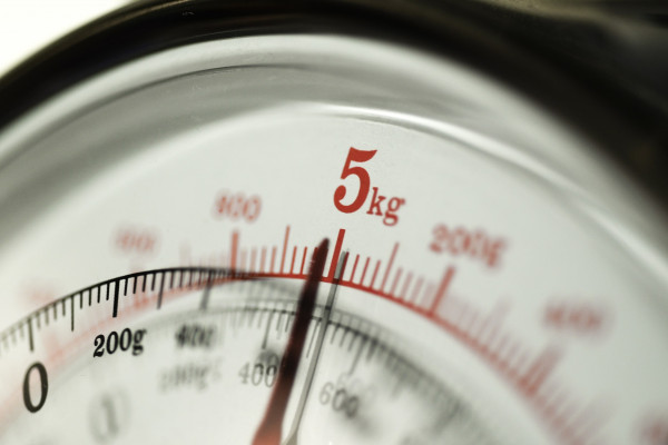 5kg shown on the dial of a scale.