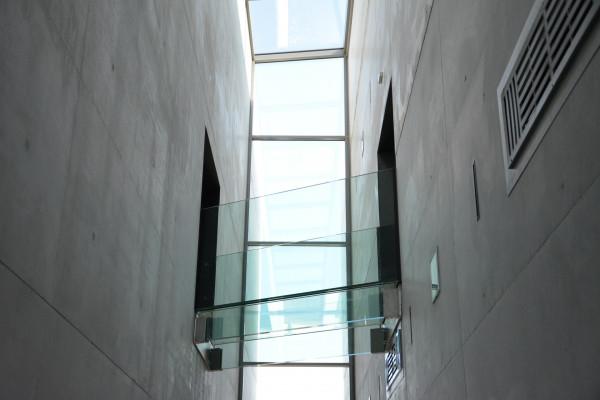 Glass bridge between two buildings