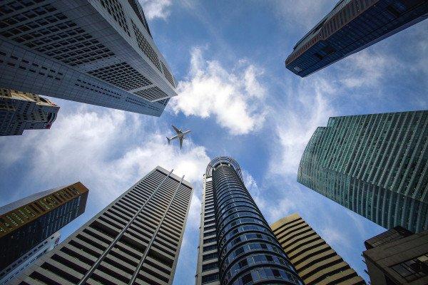 aeroplane and skyscraper