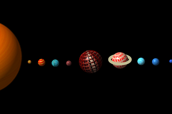 Graphic of planets in the solar system