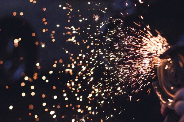 sparks flying from machinery