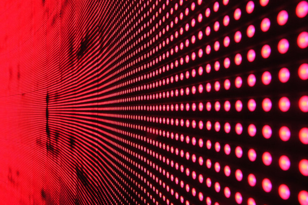 A wall of red lights