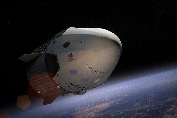 The SpaceX Crew Dragon capsule in orbit.