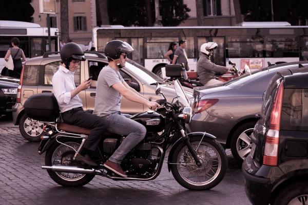 Motorbike in traffic