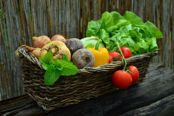 A wicker basket filled with an assortment of different vegetables