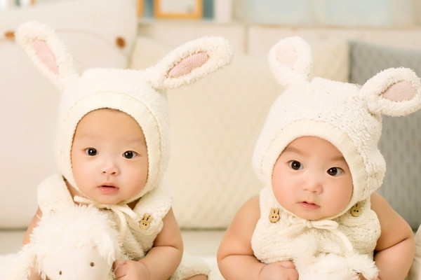 Twin babies in bunny outfits.