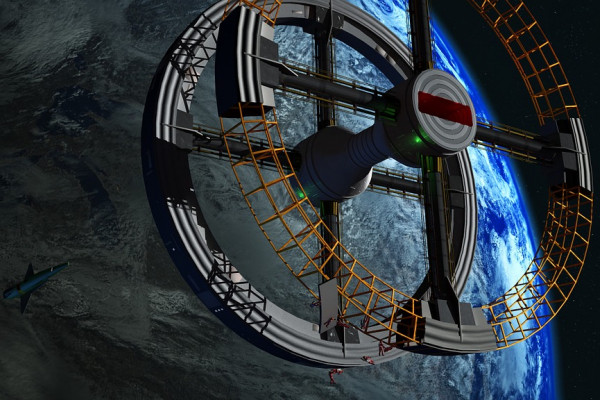 Artists impression of a space station, which would rotate to produce artificial gravity.