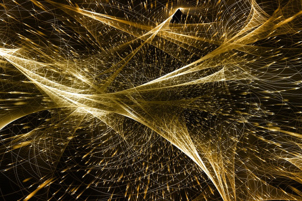 Abstract art depicting showers of particles.