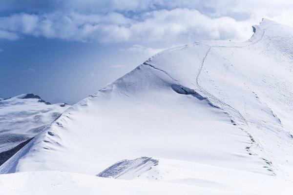 A snowy mountainside in Zermatt, Switzerland.