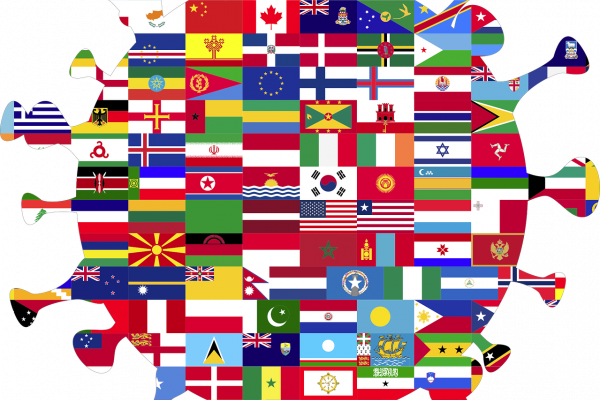 Coronavirus particle drawn using flags from around the world