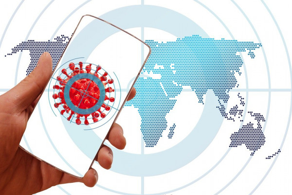 graphic of a mobile phone with global backdrop